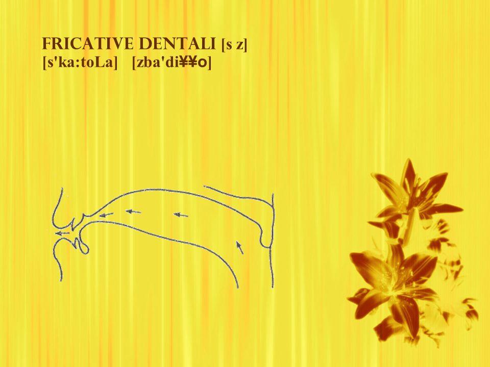 Fricative dentali [s z] [s ka:toLa] [zba di¥¥o]